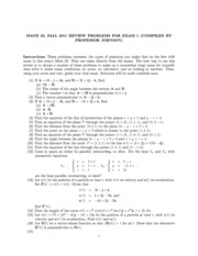 Math 23 1st exam review 2011