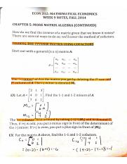 Week 9, chapter 5 more matrix algebra notes