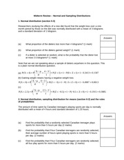 Midterm review - normal and sampling distributions - solutions