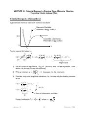 18. Potential Energy of a Chemical Bond, Molecular Vibration, Tunneling, Kinetic Isotope Effect