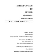 Introduction to Linear Algebra 3Ed - Gilbert Strang Solutions Manual