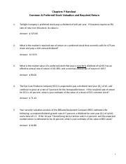 Chapter 9 Handout - Stock Valuation (1)