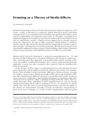 framing as a theory of media effects