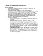 Chapter 12 – Nutritional Assessment and Nursing Practice.docx