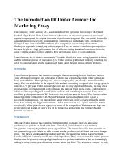 The Introduction Of Under Armour Inc Marketing Essay not rewritten.docx