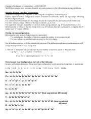 Electron Config Key - Chemistry Worksheet Configurations ...