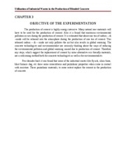 Chapter 3 Objective of the experimentation