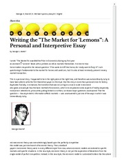 Aklerof 2003 Writing the The Market for 'Lemons'