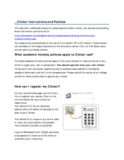 Clicker Instructions and Policies - Spring  2011