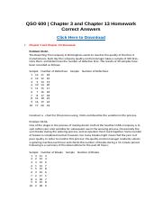 QSO 600 Chapter 3 and Chapter 13 Homework Correct Answers.docx