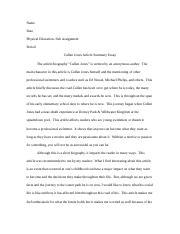 Cullen Jones Article Summary Essay