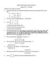 Math 4 Practice Final Exam Questions on Linear Algebra