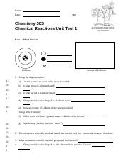 Chemical Reactions - Unit Test 1