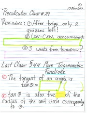 Pre-Calculus 11 Trigonometric Functions Tangent Notes