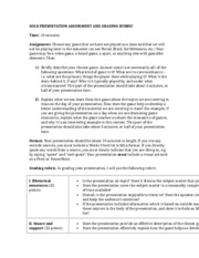 FALL 2013 SOLO PRESENTATION ASSIGNMENT AND GRADING RUBRIC