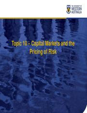Chapter10 Capital Markets and the Pricing of Risk