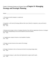 Chapter 8--Managing Strateg