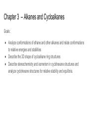 Chapter 3  – Alkanes and Cycloalkanes