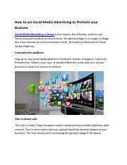 How to use Social Media Advertising to Promote your Business