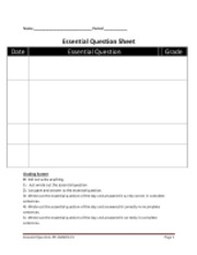 essential question worksheet
