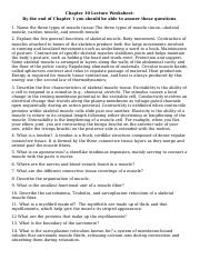 Chapter 10 Lecture Notes Worksheet SM