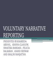VOLUNTARY NARRATIVE REPORTING