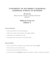 ECON 352x (Fall 2011) - Midterm #1 A (Solutions)
