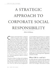 Strategic CSR (Leader to Leader, McElhaney)