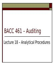 Lecture 18 Analytical Procedures.ppt