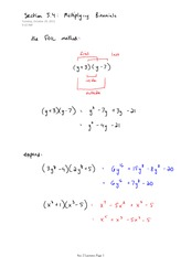 Math 141 Multiplying Binomials