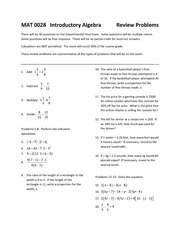 MAT 0028  Introductory Algebra - Review Problems