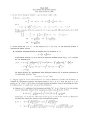 Midterm Exam 2 Solution Spring 2008 on Ordinary Differential Equations