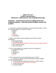 Bio 260 Endocrin, Cardio, and Lymphatics Practice exam with answers
