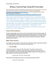Writing a Technical Paper Using APA Format Style
