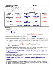 Lab 11 (Metal Reactivity) answers