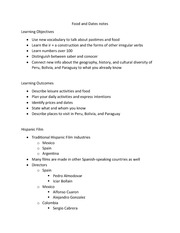 Food and Dates notes