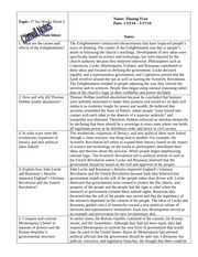 W HIST Cornell Notes- The Enlightenment