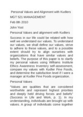 Personal Values and Alignment with Kudlers MGT 521