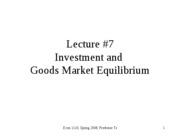 Investment and Goods Market Equilibrium