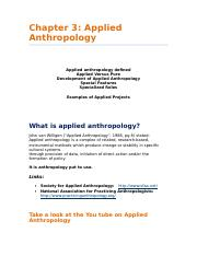 Chapter 3 Applied Anthropology