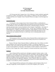 Code of Ethics Senior Financial Officers Apr 2014