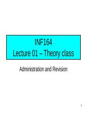 INF164 2012 - Lecture 01 - Theory class_SummerSchool