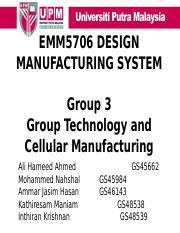 G3 - CELLULAR MANUFACTURING