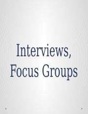 8.2 interviews, focus
