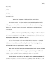 Major Writing Assignment Evidence in Violent Culture Essay 11092009