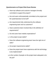 Questionnaire on Project Risk Exam Review