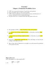 Study guide chapter 1 (PPC curve) ECON 1001