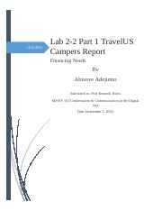 Lab 2-2 Part 1 TravelUS Campers Report.docx