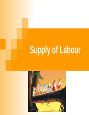 2. Supply of Labour