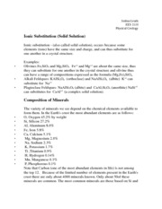 Ionic Substitution (Solid Solution) Notes